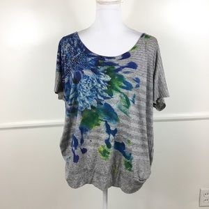 Lane Bryant Blue Floral Sequin Top Womens 18/20